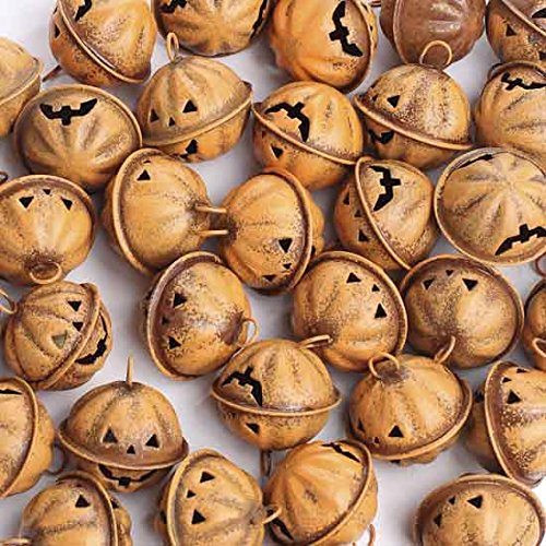 Factory Direct Craft Bulk Package of 36 Rustic Jack O Lantern Face Jingle Bells for Fall and Autumn Home Decor and Crafting