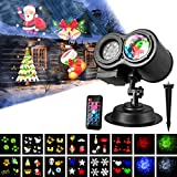 LED Projector Lamp, LUXONIC Waterproof Outdoor Water Wave & Rotating Gobos Double Projection Light Decoration Landscape Projector Light with Remote Control and 12 Animated Pattern Slides for Party