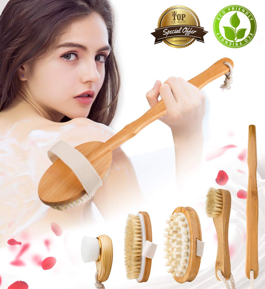 Premium Dry Brushing Body Brush Set for Lymphatic Drainage and Cellulite Treatment, Natural Boar Bristle Body Brush, Long Handle Body Brush, Face Cleansing Brush, For A Glowing Skin, 5 Pack