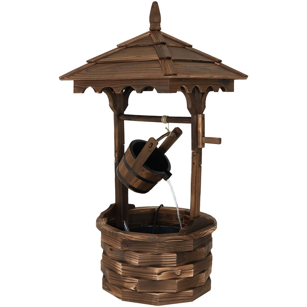 Sunnydaze Old-Fashioned Wood Wishing Well Fountain with Liner, 48-Inch