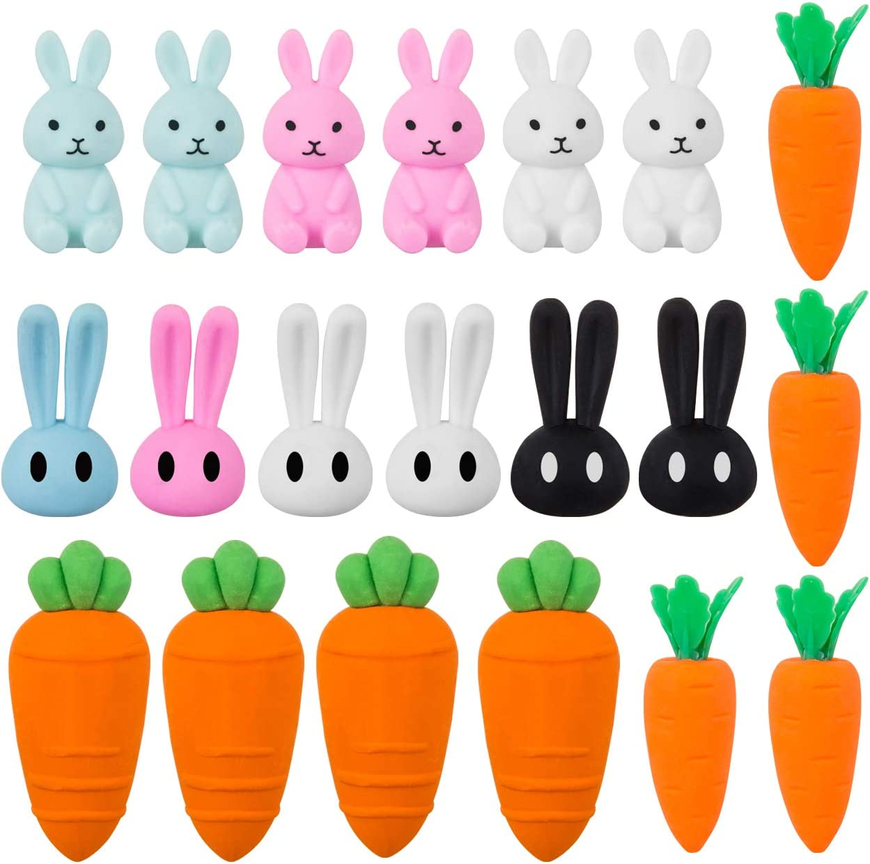 Kesoto Easter Eraser Assortment Easter Rabbit Eraser and Cute Carrot Eraser Novelty Easter Erasers for Party Favors 20 Pieces Homework Rewards Gift Filling and Art Supplies