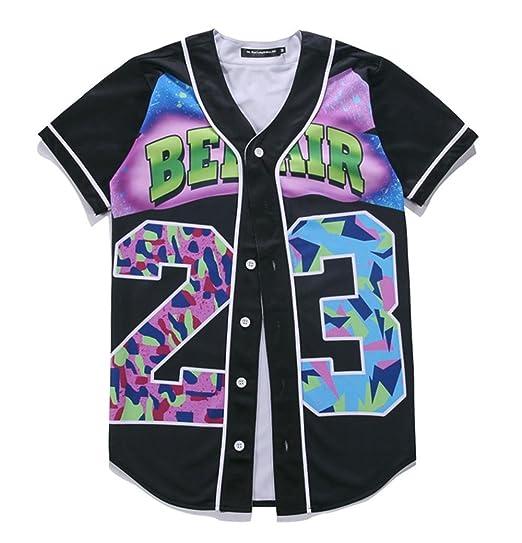 4a5f0d898 SAINDERMIRA Unisex 3D Digital Galaxy Baseball Jersey Button Down Shirt