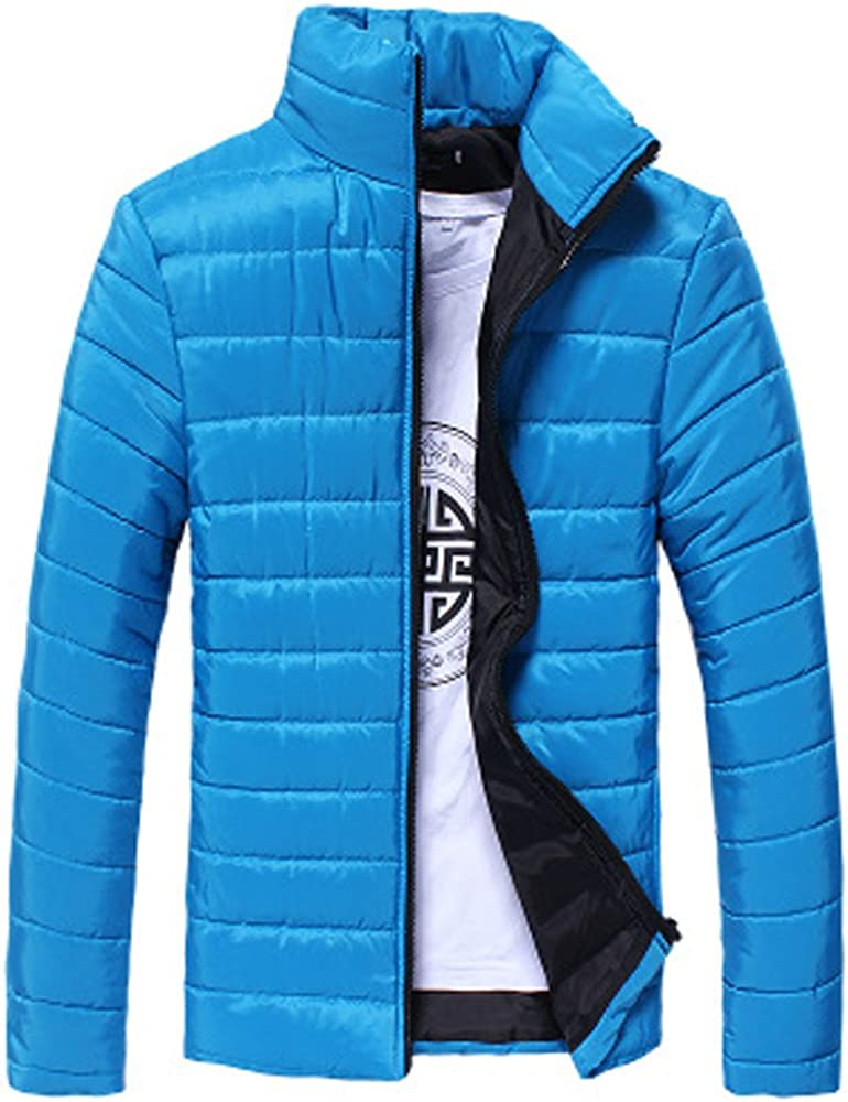 ARTFFEL Mens Plus Size Winter Thicker Full-Zip Loose Fit Down Quilted Coat Jacket Overcoat