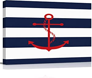 zzsunfeel Canvas Oil Painting Red Nautical Anchor Wall Art Navy Blue and White Stripes Picture Prints for Living Room Home Decor, Ready to Hang - 12x16 inches