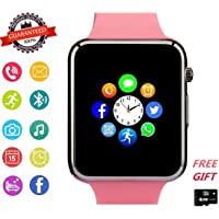 Janker Bluetooth Smart Watch, Touchscreen Smart Wrist Watch Smartwatch Phone With Camera SIM SD Card Slot Fitness Tracker Compatible With iOS Android Sony LG Huawei Samsung For Women Kids Teens Pink