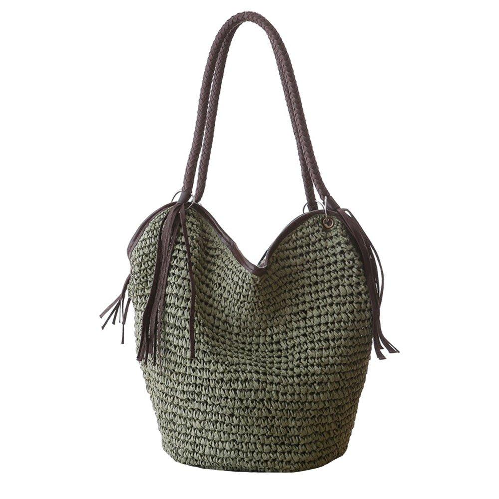 Women Straw Shoulder Bag Summer Beach Bag Tassels Tote Bag Cotton Lining Top Handle Hobo Shopper Handbag Bucket Bag
