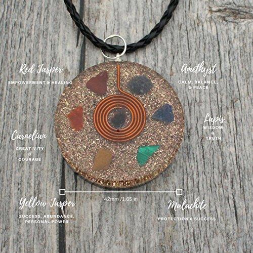 Pendant Black Leather Necklace - Reversible Orgonite Mixed Chakra Orgone Gemstone Pendant – Revitalization Relaxation Chi energy enhancing Crystal necklace- Tesla Coil - Unisex