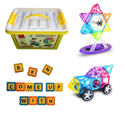 130 Pieces Crystal Magnetic Building Blocks and Tiles with Alphabet Letters and Wheels - A Learning Toy by Phrase It to Build With Purpose
