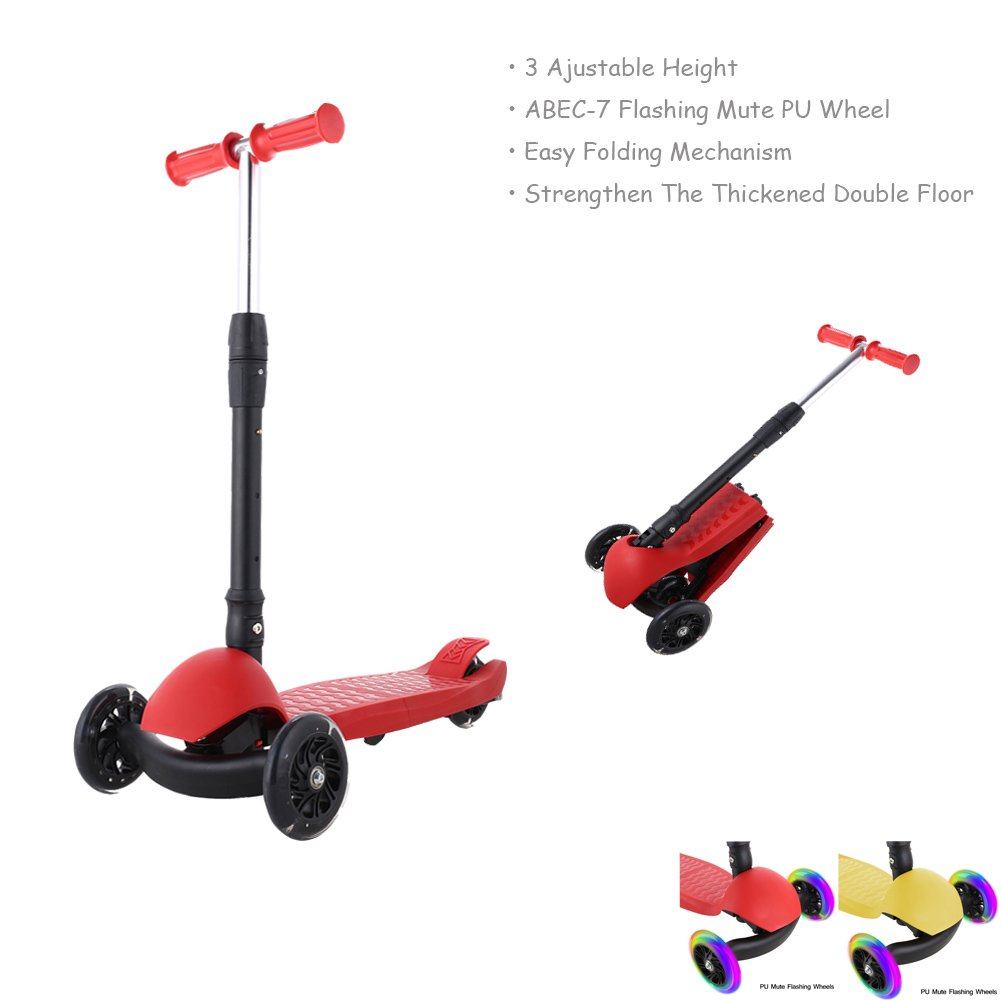 Anfan Kids Kick Scooter,3 Wheel Scooter for Boys girls Age 3-12,Easy-Folding,3 Adjustable Heights,PU Flashing Mute Wheels ABEC 7,Support 110lbs Weight