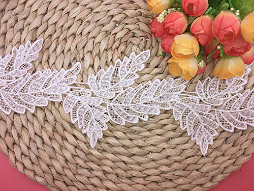 9.5CM Width Europe Leaf Pattern Inelastic Embroidery Lace Trim,Curtain Tablecloth Slipcover Bridal DIY Clothing/Accessories.(2 Yards in one Package) (White)