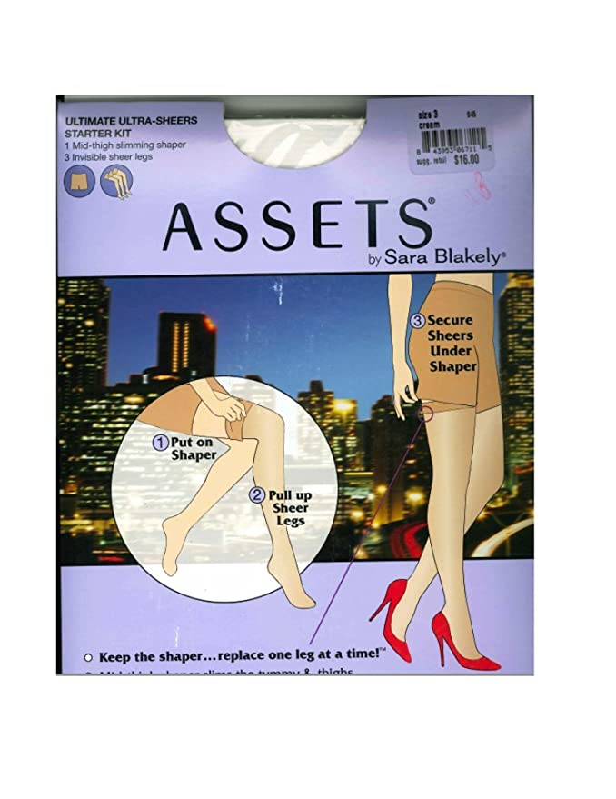 f6f7c09eba4db ASSETS by Sara Blakely Ultimate Ultra-Sheer Mid-Thigh Shaper with 3 Sheer  Legs Starter Kit Hosiery at Amazon Women's Clothing store: