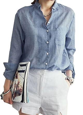 Lummet Womens Flax Loose linen Plus Proket Long Sleeves Button ...