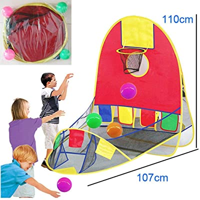 Lanbter New Kids Children Shoot-a-Basket Tent Foldable Puzzle Game House Toys Play Tunnels: Garden & Outdoor