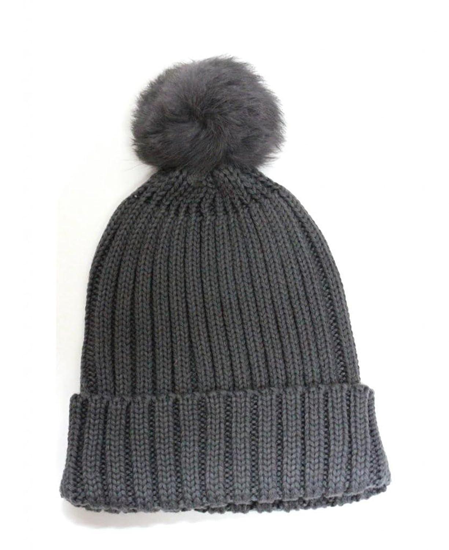 City Hunter Ck1030 Solid Knit Rabbit Pom Pom Knit Hat (7 Colors)