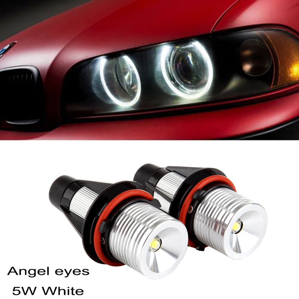 Ricoy 2x 5W For E39 E53 E60 E61 E64 E65 E66 E87 X3 X5 LED Angel Eye Halo Ring Marker Side Light White LED Bulb(Pack of 2)