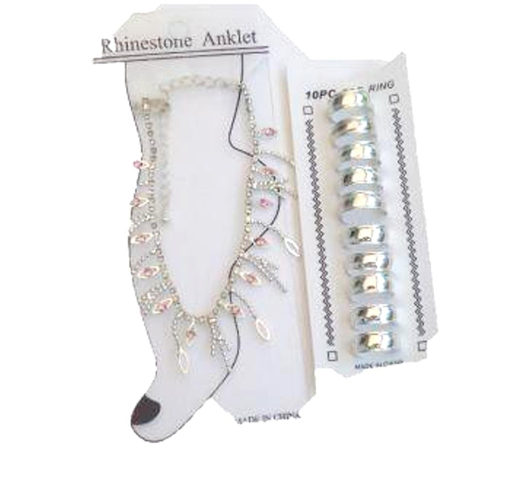 Sterling Silver Plated Anklet with Rhinestones and Pinl Jades with Toe Rings