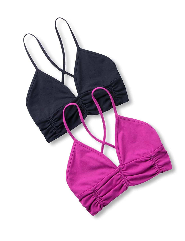 CRZ YOGA Womens Light Support Comfort Wirefree Yoga Bra Everyday Bra Top