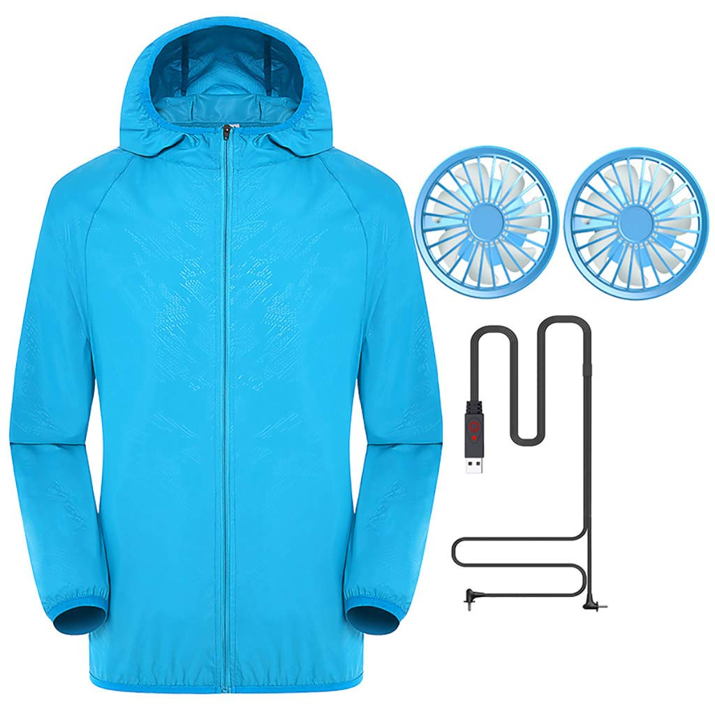 Jacket with Fans,Men's Hooded Air-Conditioned Clothes Outdoors Sports Jacket and Zipper (S, Blue)