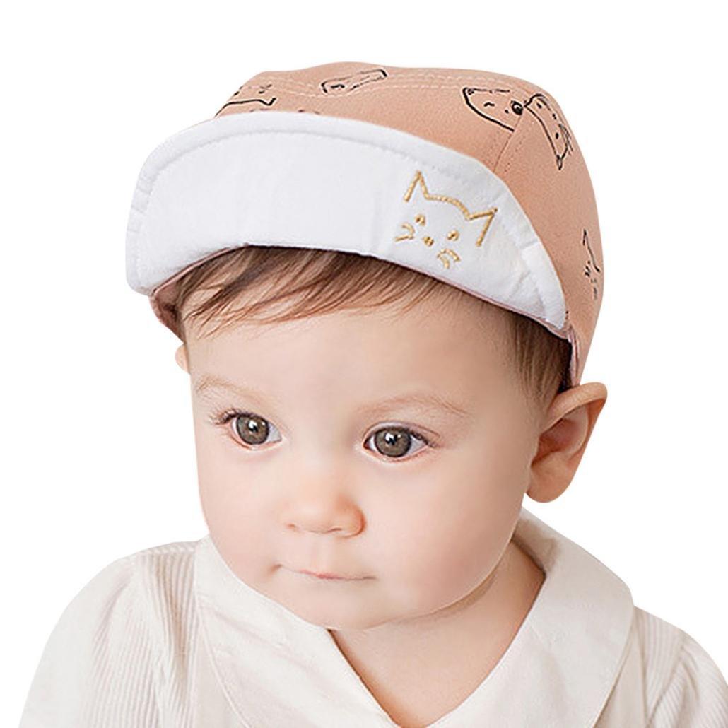 Sumen Cute Infant Kids Comfortable Sun Hat Cartoon Cat Print Cap Baby Gift (Pink)