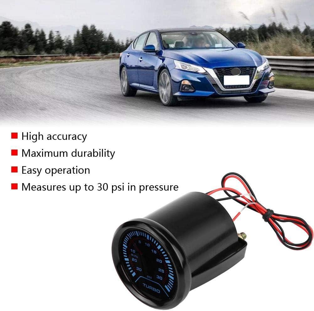 Cuque Car Boost Gauge 10-15V LED Turbo Boost Gauge Auto Turbo Boost Meter Aluminum Alloy for 52mm Diameter Gauge