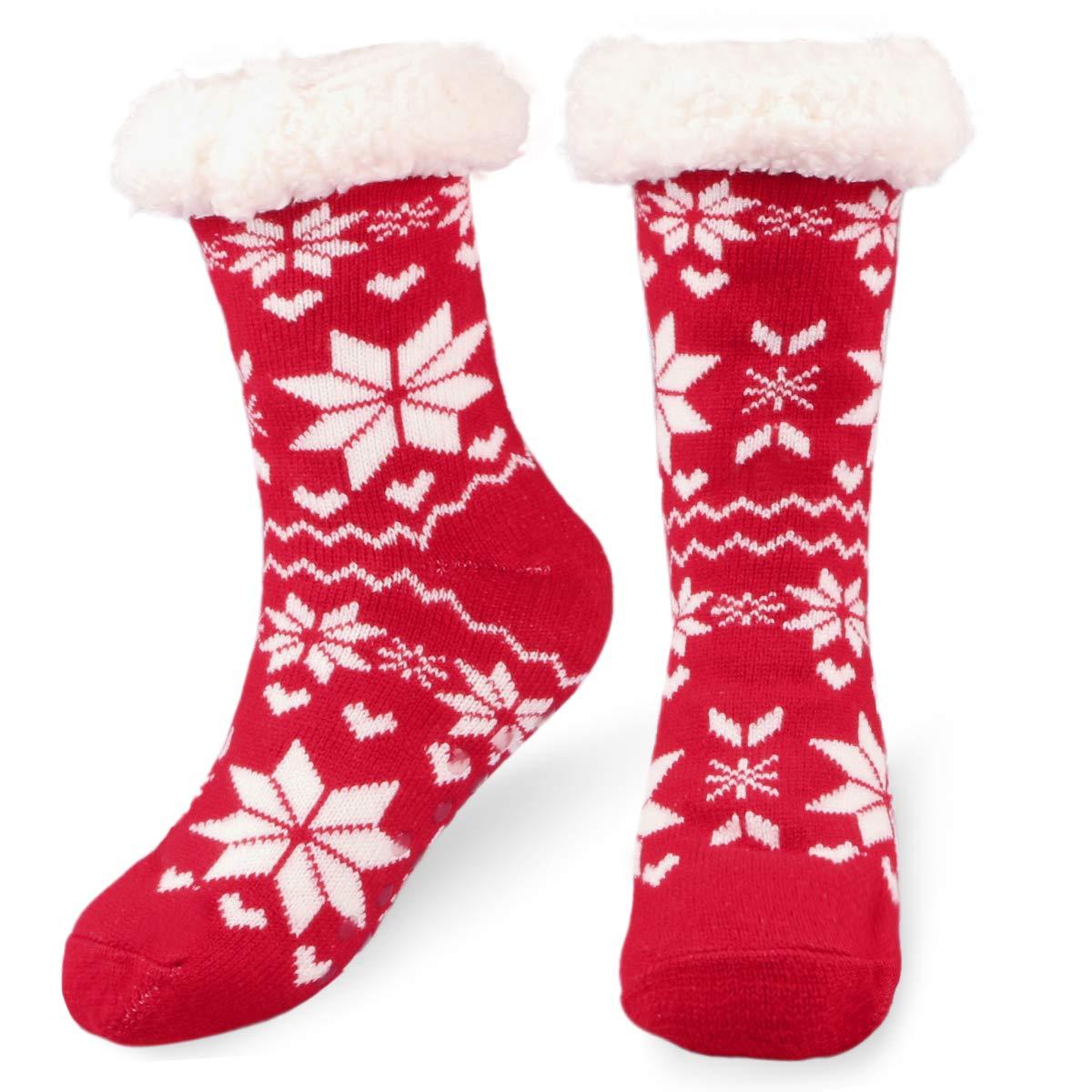 Fixget Calzini pantofola, donne Premium Soft inverno maglia pile, calze antiscivolo caldo fuzzy calzini accoglienti pantofola, gambaletti calze pantofola calze
