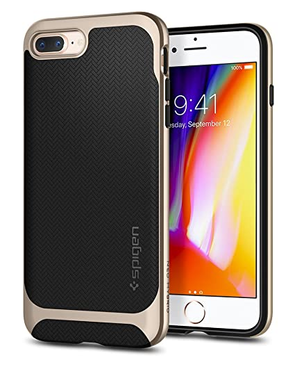 competitive price 57e4f ca991 Spigen Neo Hybrid Designed for Apple iPhone 8 Plus Case (2017) / Designed  for iPhone 7 Plus Case (2016) - Black & Champagne Gold
