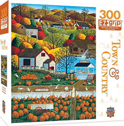 MasterPieces Town & Country Autumn Morning - Pumpkin Patches Large 300 Piece EZ Grip Jigsaw Puzzle by Art Poulin Masterpieces Puzzles Games