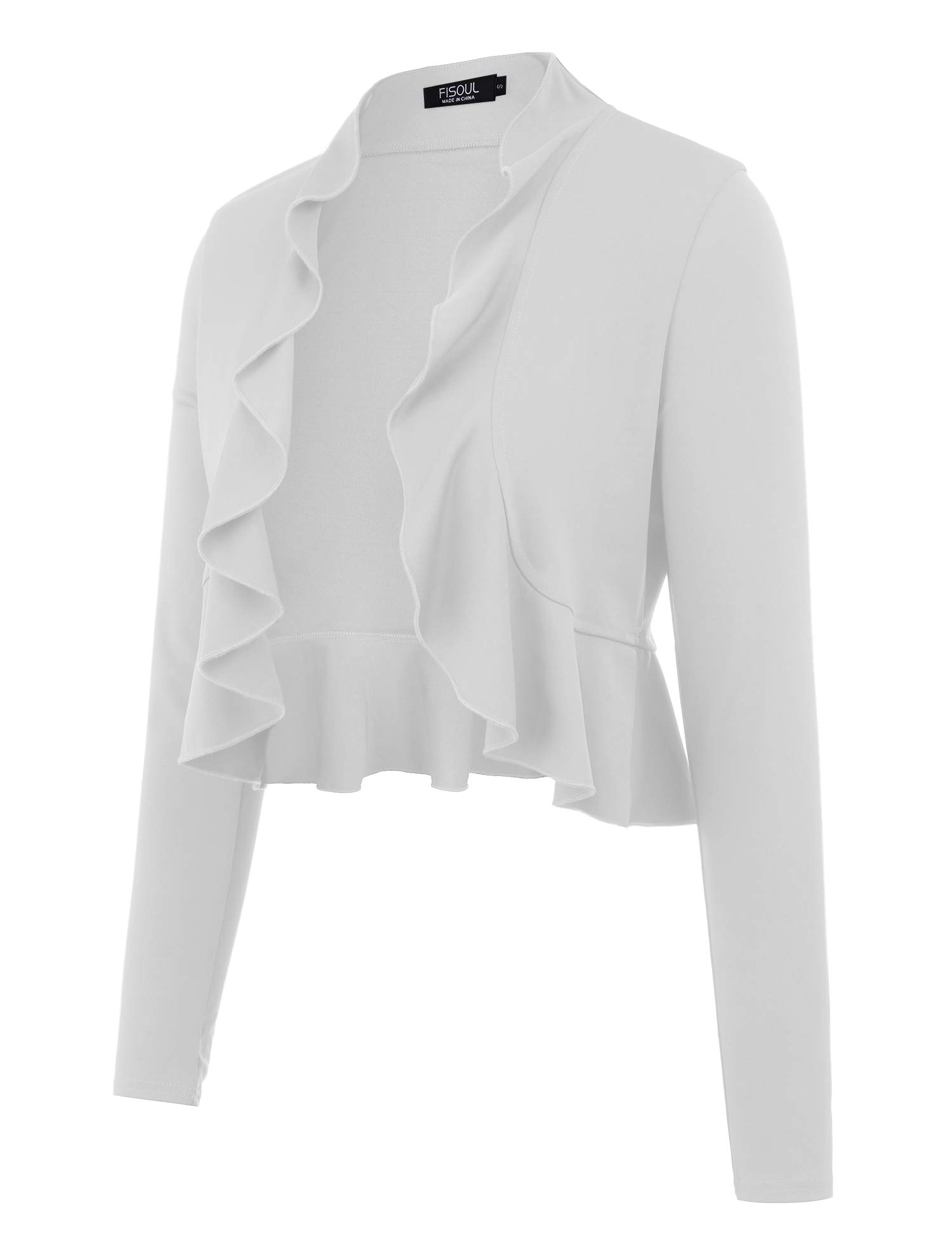 FISOUL Women's Open Front Cropped Cardigan Lone Sleeve Casual Shrugs Jacket Draped Ruffles Lightweight Sweaters White S