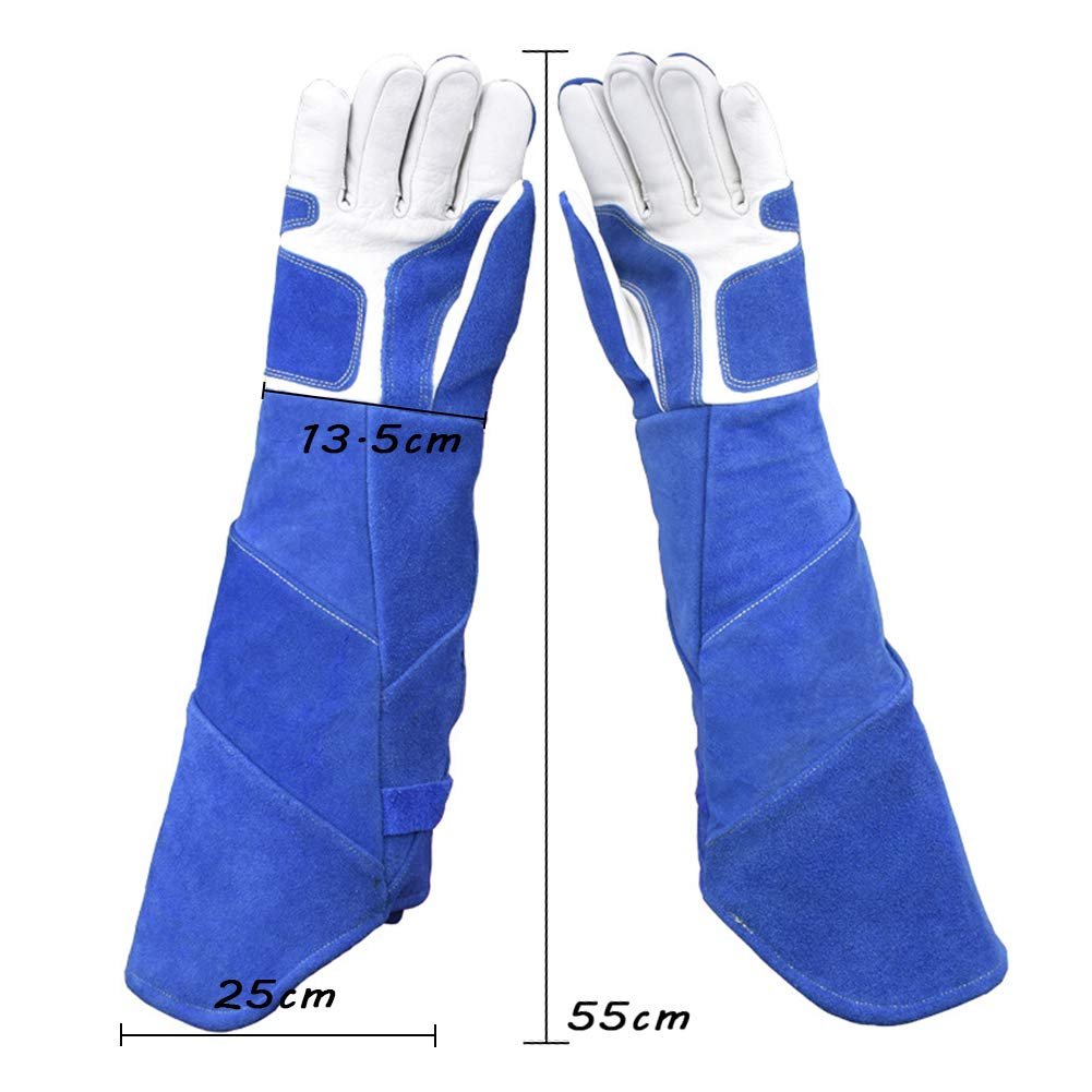 LAIABOR Welding Gloves Longer Extreme Heat fire Resistant with Kevlar Stitching Heavy Duty Welders Gauntlet Lined Fireplace Grill BBQ Animal handling Gardening Wood,BlueAsh by LAIABOR (Image #7)