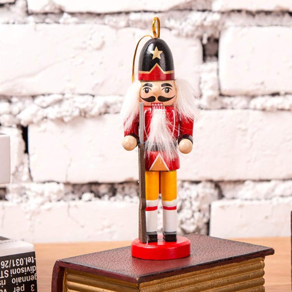 bambola di legno soldato pendente decorativo - Set di 6 pezzi di schiaccianoci statuetta di schiaccianoci 12 cm Color : -, Size : -