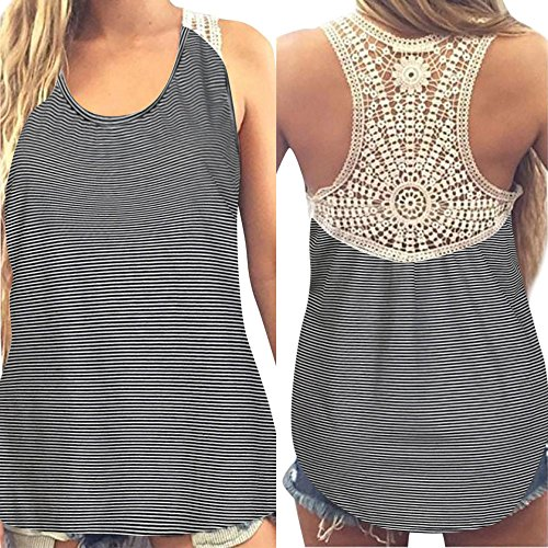 SADUORHAPPY Women Summer Lace Vest Top Short Sleeve Blouse Casual Lace Stitching Pinstriped Vest