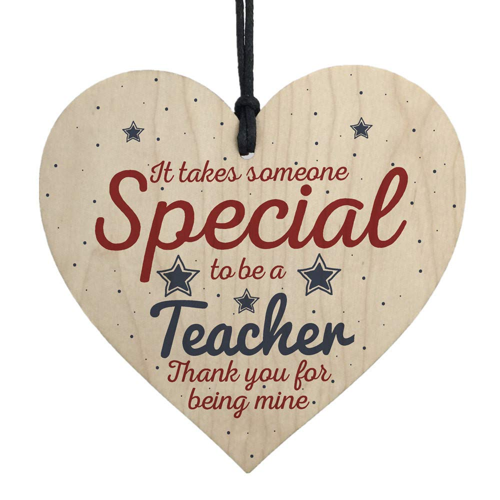 Wooden Plaque Pulison Handmade Hanging Heart Gift For Teacher Leaving Present Thank You Gifts
