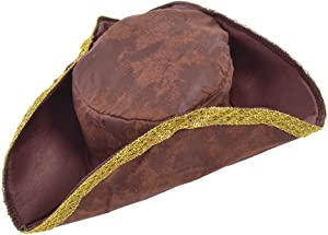 Bristol Novelty BH418 Tricorn Hat Brown Distressed Look, One Size