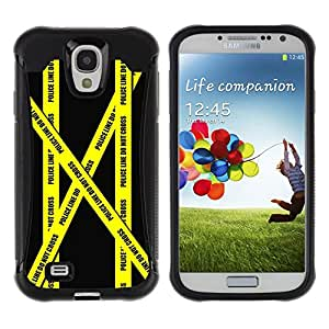 All-Round híbrido Heavy Duty de goma duro caso cubierta protectora Accesorio Generación-II BY RAYDREAMMM - Samsung Galaxy S4 I9500 - Don'T Go Police Tape Crime Scene Yellow