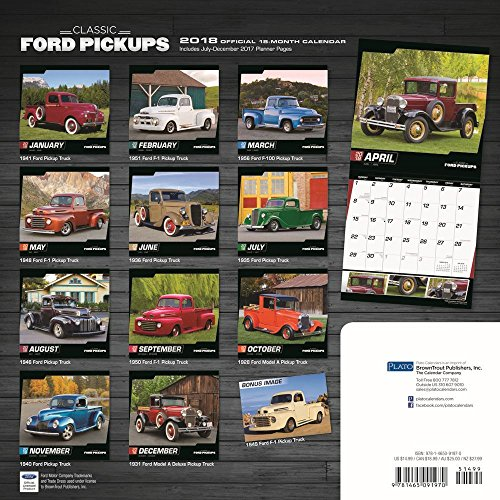 Classic Ford Pickups 2018 12 x 12 Inch Monthly Square Wall Calendar with Foil Stamped Cover by Plato, Motor Truck