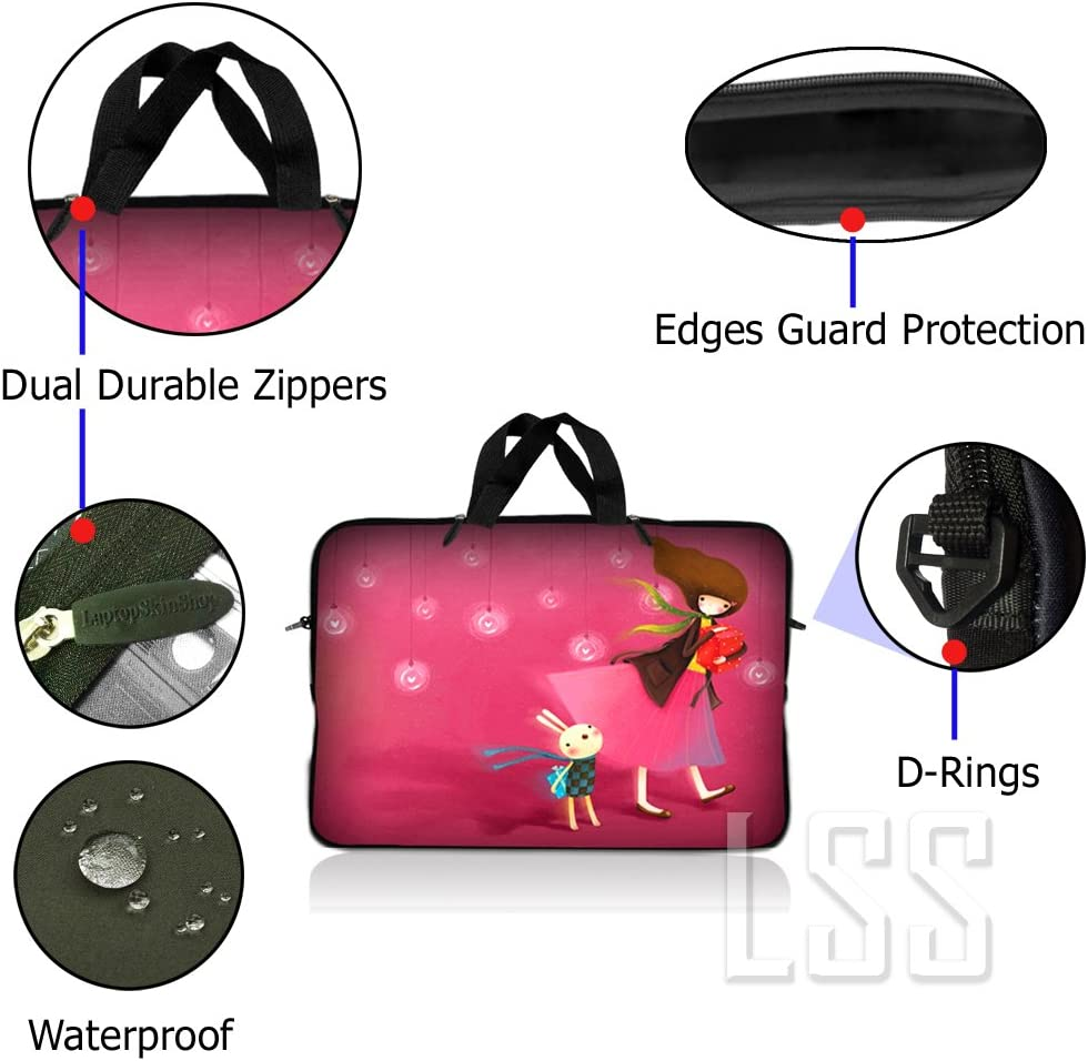 Asus Dell Carrying Case Pouch w//Handle,Ying Yang Black Sony HP MacBook and More LSS 17-17.3 Laptop Sleeve Bag Compatible with Acer