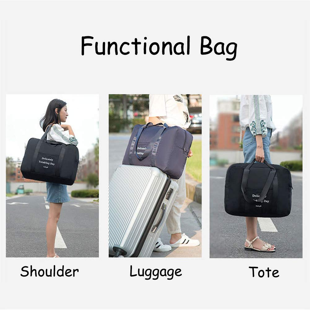 f5b8c6393787 Belsmi Foldable Travel Duffle Bag Waterproof Lightweight Storage Carry  Luggage Gym Sports Tote Bag (Black)