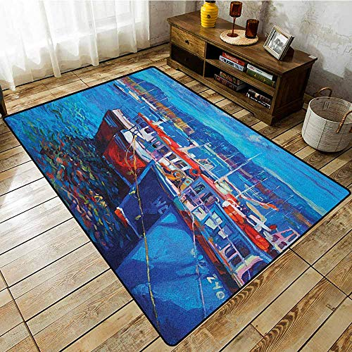 (Collection Area Rug,Country,Sail Boats Ships on The Shore Harbor by The Sea Small Rural Fishing Town Artwork,for Outdoor and Indoor Navy Red)
