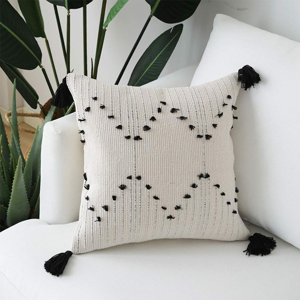 Magnificent Hand Woven Tassels Throw Pillow Cover Moroccan Cotton Beige With Black Geometric Pattern Pillow Case Square Decorative Pillowcase 18 Inches 18X18 Camellatalisay Diy Chair Ideas Camellatalisaycom