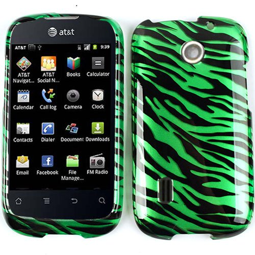 CELL PHONE CASE COVER FOR HUAWEI FUSION U8652 TRANS GREEN ZEBRA PRINT ()