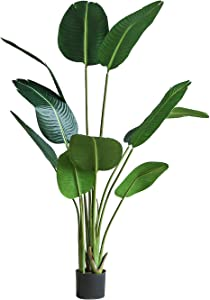 kutuuhome Artificial Bird of Paradise Plant Fake Tropical Palm Tree for Indoor Outdoor Perfect Faux Plants for Home Garden Office Store Decoration 10 Leaves (1 Pack,63 Inch)
