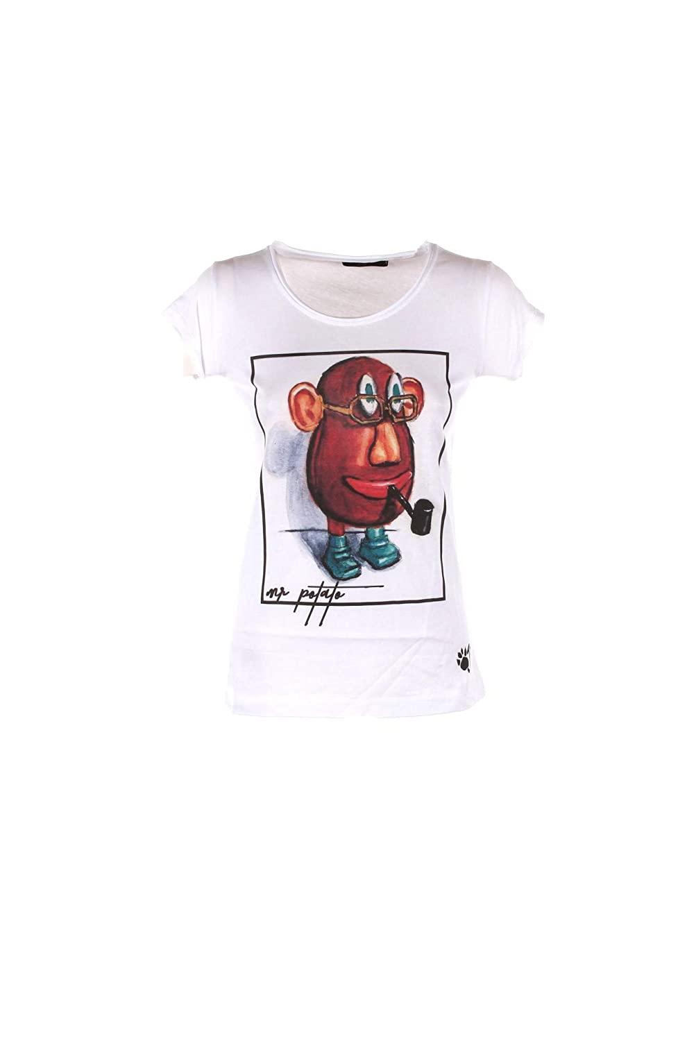OJI T-Shirt Donna L Bianco Mr. Potato Autunno Inverno 2018/19