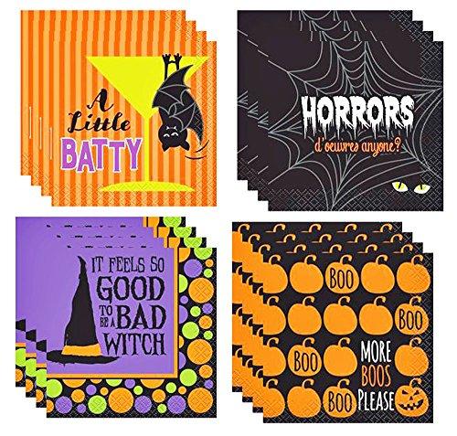 Halloween Theme Assorted Cocktail Napkins (4 Packs of 16 Napkins Per Pack. Total of 64 Napkins) (Halloween Group Themes)