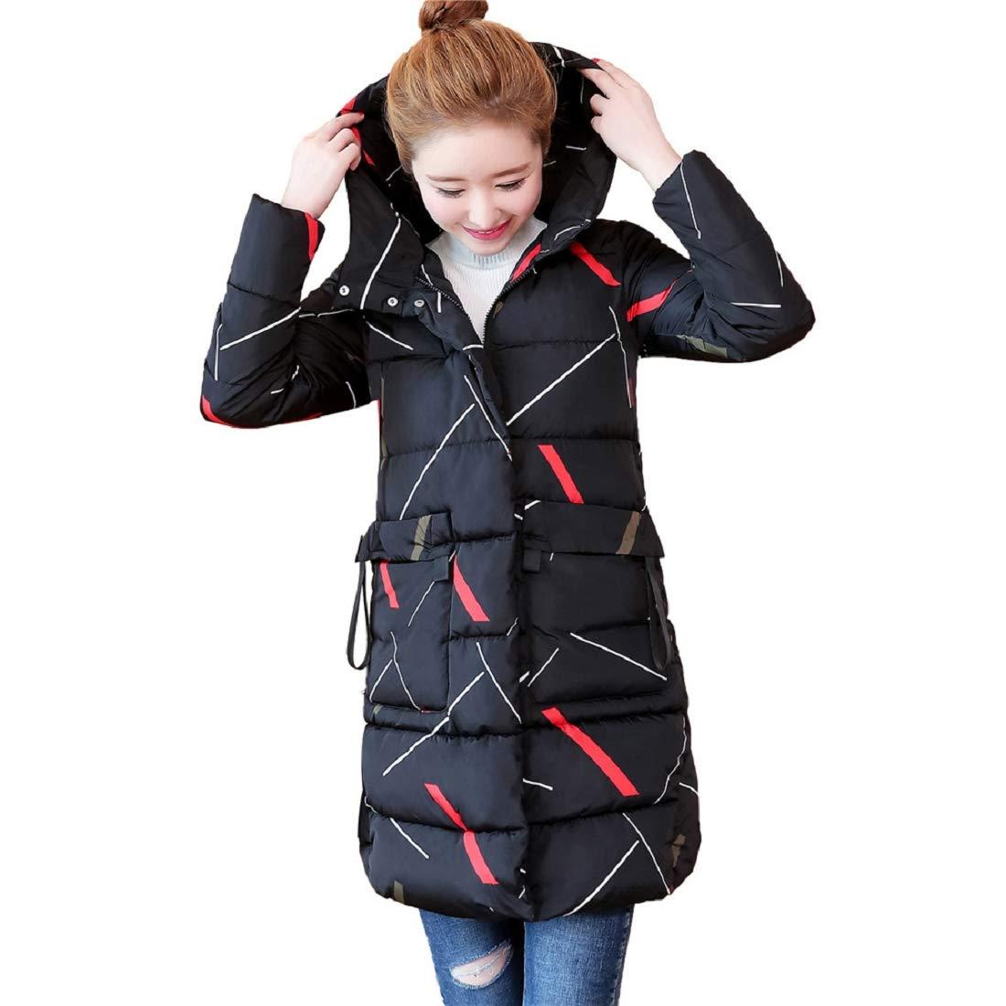 f58bc9246f8 Amazon.com  GONKOMA Women Winter Warm Fur Hooded Coats Parka Long Thicken  Overcoat Cardigan Jackets Outerwear  Clothing