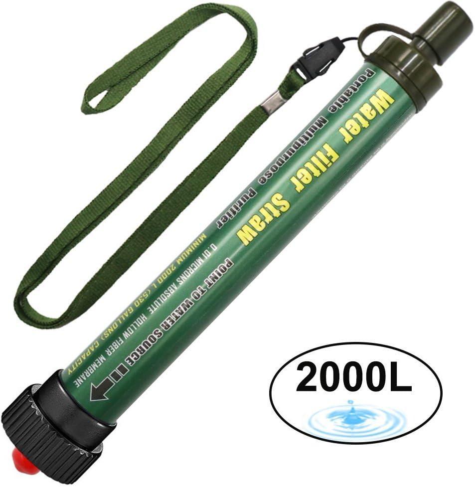 Filtro de Agua 2000L Personal Sistema de Filtración de Agua Mini Purificador de Agua Portátil para Excursionismo Campamento Acampada Supervivencia y Preparación de Emergencias