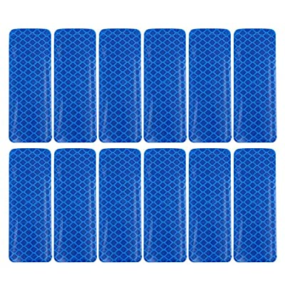 X AUTOHAUX Car Reflective Stickers Night Visibility Warning Rear Bumper Tape Universal Adhesive Decal for Auto Blue 3 x 8cm 12pcs: Automotive