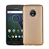 Celkase Carbon Fiber Series Hybrid Slim Fit & Thin Case Cover For Moto G Plus 5Th Gen 5.2 Inch (2017), Gold