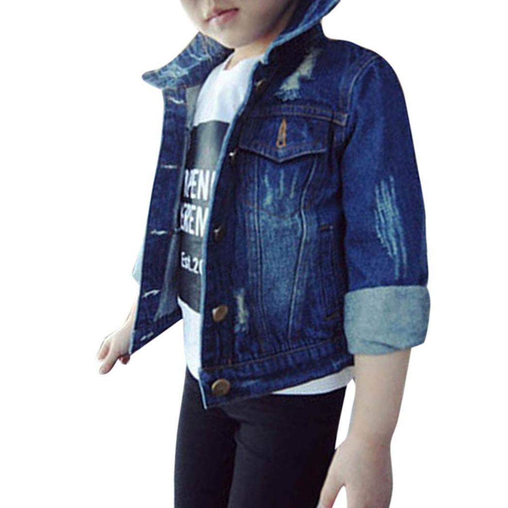 Anxinke Spring Fashion Kids Girls Coat Ripped Denim Jackets Button Down Outerwear (3T)