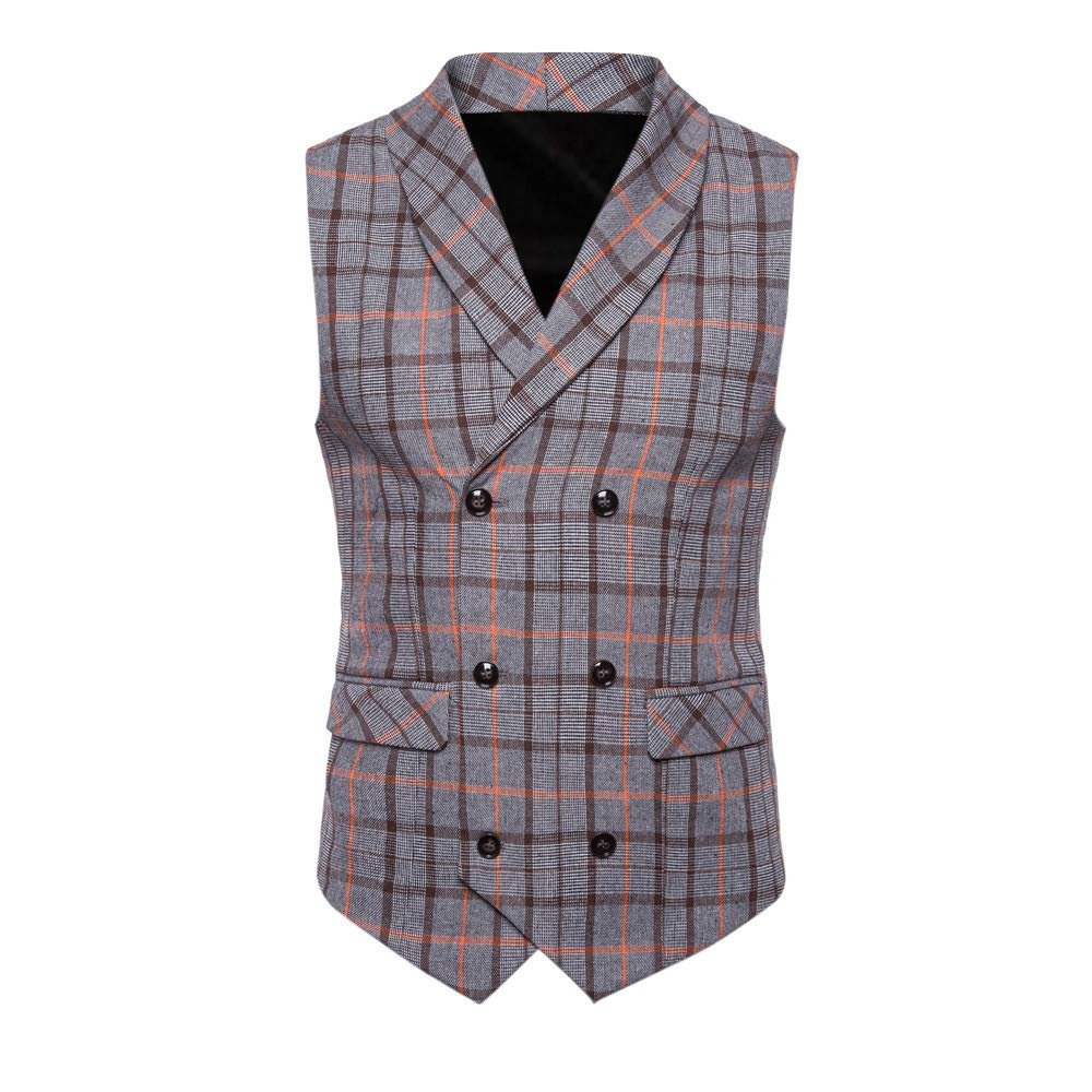 SMALLE ◕‿◕ Clearance,Men Plaid Button Casual Printed Sleeveless Jacket Coat British Suit Vest Blouse
