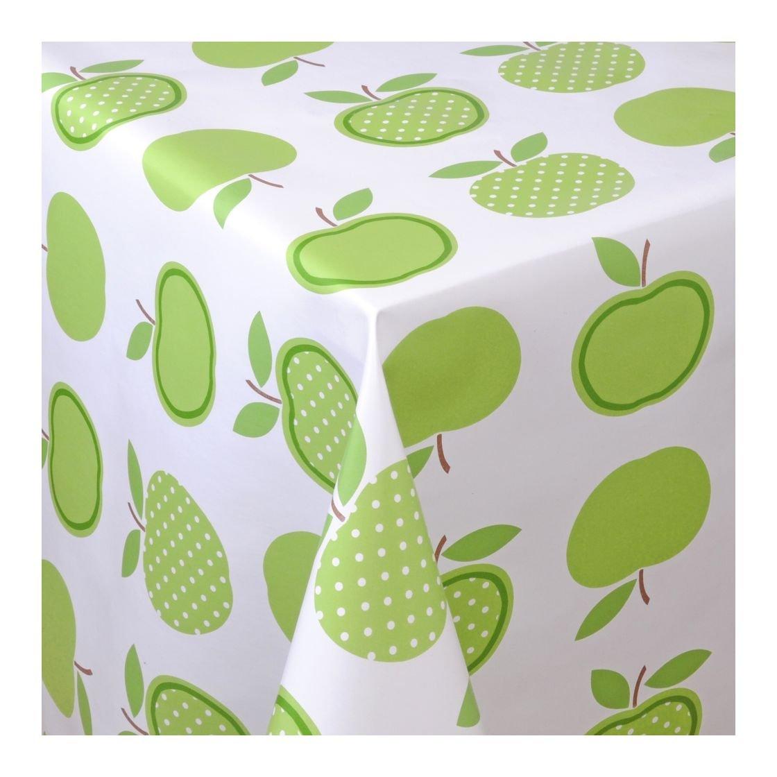 Wachstuch Tischdecke Wachstischdecke Gartentischdecke, Abwaschbar Meterware, Länge wählbar, 'Green Apples' Äpfel Grün Weiß (623-01)